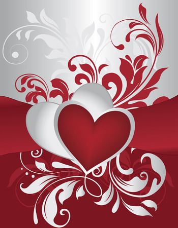 Vintage Valentine card with ornate elegant retro abstract floral design, bright gray and red flowers and leaves on gray and red background with heart text label. Vector illustration.
