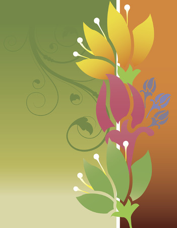 multicolored: Vintage invitation card with ornate elegant retro abstract floral design, multi-colored flowers and leaves on green and orange  background with text label. Vector illustration.