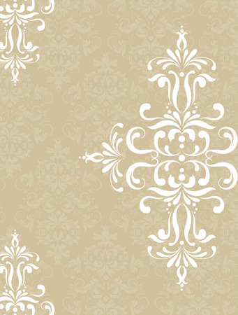 enchanting: Vintage invitation card with ornate elegant retro abstract floral design, white flowers and leaves on beige background with text label. Vector illustration.