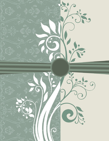 groene bloemen: Vintage invitation card with ornate elegant retro abstract floral design, white and laurel green flowers and leaves on teal green and pale green background with ribbon and text label. Vector illustration.