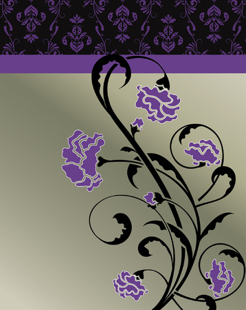 enchanting: Vintage invitation card with ornate elegant retro abstract floral design, violet flowers and black leaves on gray background with text label. Vector illustration.