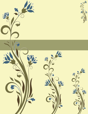 teal background: Vintage invitation card with ornate elegant retro abstract floral design, teal blue and olive green flowers and leaves on light yellow background with ribbon text label. Vector illustration.