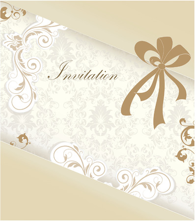 special events: Vintage invitation card with ornate elegant retro abstract floral design, light brown and grayish brown flowers and leaves on light gray and beige background with ribbon and text label. Vector illustration.