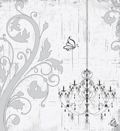 Vintage invitation card with ornate elegant retro abstract floral design, gray flowers and leaves on scratch textured light gray background with chandelier butterflies and text label. Vector illustration. Illusztráció