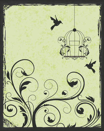 birdcage: Green and black birdcage invitation