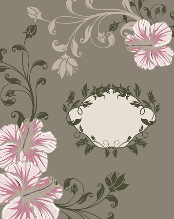 dark olive: Vintage invitation card with ornate elegant retro abstract floral design, pink and beige flowers and dark olive green leaves on gray background with plaque text label. Vector illustration.