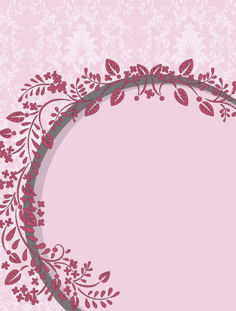 arranged: Vintage invitation card with ornate elegant retro abstract floral design, medium red flowers and leaves arranged in semi-circle on faded red and white background with text label. Vector illustration.