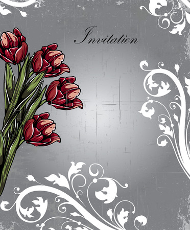 scratch card: Vintage invitation card with ornate elegant retro abstract floral design, red and white flowers and green leaves on scratch textured gray background with text label. Vector illustration.