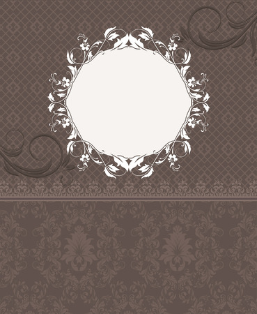 elegant backgrounds: Vintage invitation card with ornate elegant retro abstract floral design, white and brown flowers and leaves on light brown background with plaque text label. Vector illustration.