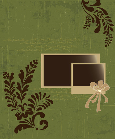 scratch card: Vintage invitation card with ornate elegant retro abstract floral design, brown flowers and leaves on scratch textured olive green background with card text label. Vector illustration.
