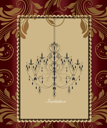 frame border: Vintage invitation card with ornate elegant retro abstract floral design, chandelier in frame border on shiny gold and red flowers and leaves background with text label. Vector illustration.