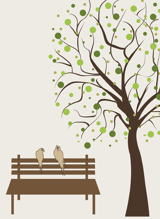 bench: Vintage invitation card with ornate elegant retro abstract floral tree design, brown tree with round green flowers and leaves on light gray background with birds bench and text label. Vector illustration. Illustration