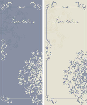 bluish: Set of two (2) vintage invitation cards with ornate elegant retro abstract floral design, light gray flowers and leaves on bluish gray background with text label and bluish gray flowers and leaves on light gray background with text label. Vector illustrat