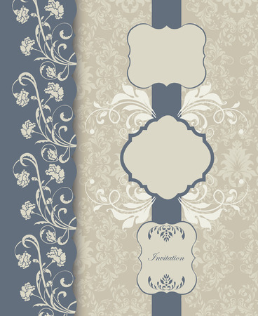 blue plaque: Vintage invitation card with ornate elegant retro abstract floral design, light gray flowers and leaves on blue gray and gray background with ribbon and plaque text label. Vector illustration. Illustration