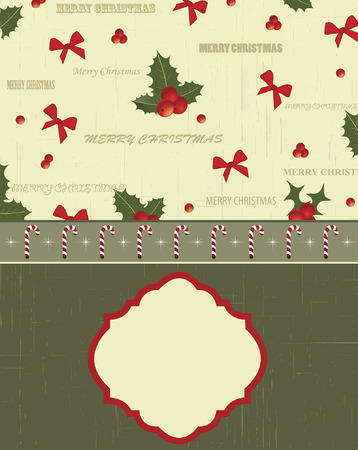 Vintage Christmas card with ornate elegant retro abstract floral design, red ribbons and red and green ponsettia flowers and leaves on scratch textured pale yellow green and dark olive green background with candy cane ribbon and plaque text label. Vector