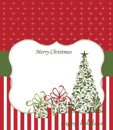 Vintage Christmas card with ornate elegant retro abstract floral design, tree and gift boxes with red and green flowers and leaves on red and white background with ponsettia stars stripes ribbon and plaque text label. Vector illustration. Illustration