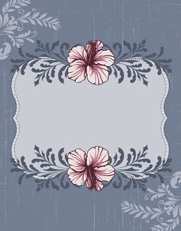 bluish: Vintage invitation card with ornate elegant retro abstract floral design, pink gray and dark blue flowers and leaves on scratch textured bluish gray background with plaque text label. Vector illustration. Illustration
