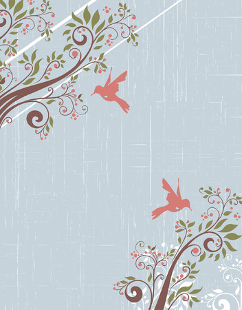 birds in tree: Vintage invitation card with ornate elegant retro abstract floral tree design, brown tree branches with coral pink and olive green flowers and leaves on scratch textured pale blue background with birds and text label. Vector illustration.