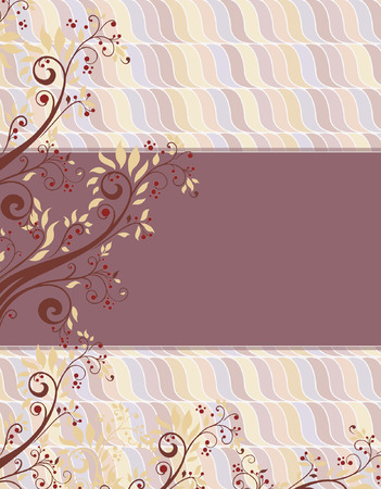 enchanting: Vintage invitation card with ornate elegant retro abstract floral design, red brown and beige flowers and leaves on multi-colored background with box text label. Vector illustration.