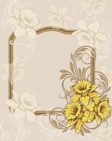 enchanting: Vintage invitation card with ornate elegant retro abstract floral design, yellow and beige flowers and leaves on grayish beige background with frame text label. Vector illustration.