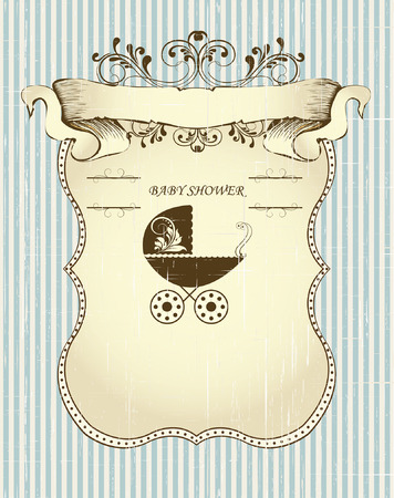 sash: Vintage baby shower invitation card with ornate elegant retro abstract floral design, brown leaves on scratch textured striped light blue background with sash banner baby carriage and plaque text label. Vector illustration.