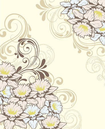 pale yellow: Vintage invitation card with ornate elegant retro abstract floral design, yellow pale blue and gray flowers and leaves on pale yellow background with text label. Vector illustration.
