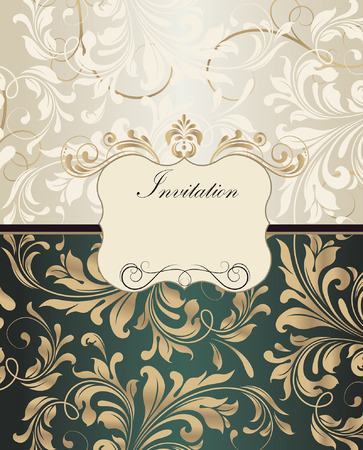 gold plaque: Vintage invitation card with ornate elegant retro abstract floral design, gold and beige flowers and leaves on light gray and dark emerald green background with plaque text label. Vector illustration.
