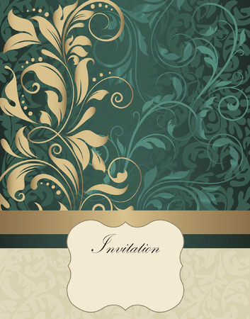 gold plaque: Vintage invitation card with ornate elegant retro abstract floral design, shiny gold and dark cyan flowers and leaves on dark green and beige background with ribbon and plaque text label. Vector illustration.