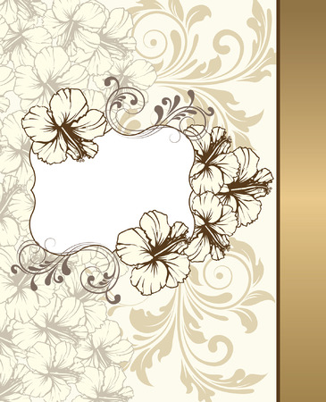 pale yellow: Vintage invitation card with ornate elegant retro abstract floral design, pale yellow light gray and light brown flowers and leaves on pale yellow background with right border and plaque text label. Vector illustration.