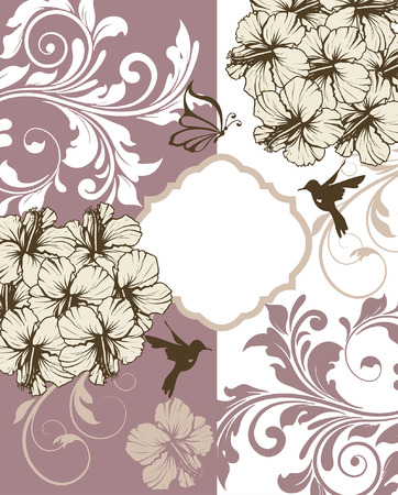 enchanting: Vintage invitation card with ornate elegant retro abstract floral design, white gray brown and grayish pink flowers and leaves on grayish pink and white background with butterfly birds and plaque text label. Vector illustration. Illustration