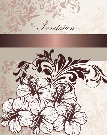 pink brown: Vintage invitation card with ornate elegant retro abstract floral design, pale pink light gray and chocolate brown flowers and leaves on light gray background with ribbon text label. Vector illustration. Illustration