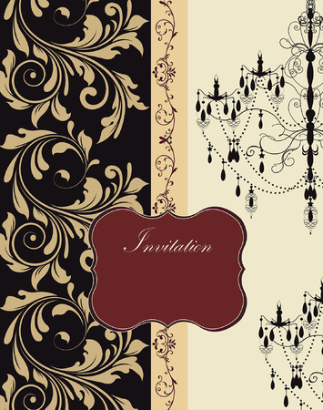 pale yellow: Vintage invitation card with ornate elegant retro abstract floral design, beige flowers and leaves on black and pale yellow green background with ribbon chandelier and red plaque text label. Vector illustration.