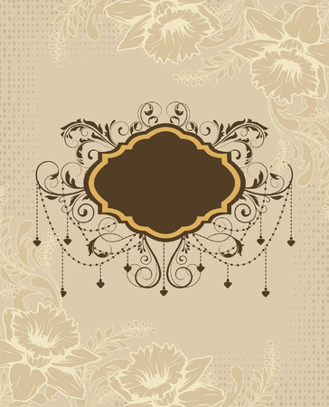 Vintage invitation card with ornate elegant retro abstract floral design, brown and beige flowers and leaves on dotted beige background with plaque text label. Vector illustration.