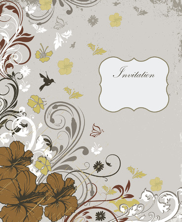 scratch card: Vintage invitation card with ornate elegant retro abstract floral design, multi-colored flowers and leaves on scratch textured light gray background with birds butterflies and plaque text label. Vector illustration.