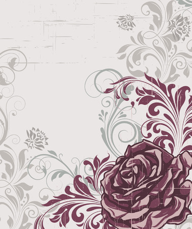 scratch card: Vintage invitation card with ornate elegant retro abstract floral design, gray and dark pink flowers and leaves on scratch textured light gray background with text label. Vector illustration.