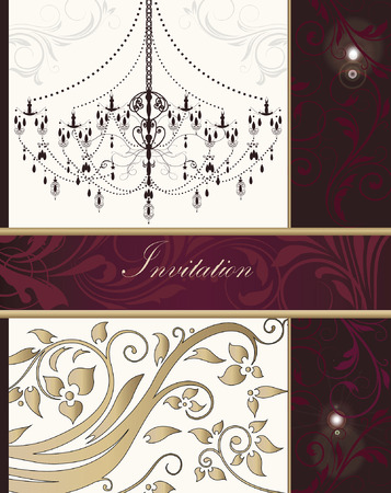 Vintage invitation card with ornate elegant retro abstract floral design, gold red and fuschia pink flowers and leaves on beige and dark red background with chandelier divider and ribbon text label. Vector illustration.