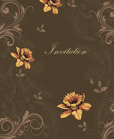 brown: Vintage invitation card with ornate elegant retro abstract floral design, yellow orange and light brown flowers and leaves on brown background with text label. Vector illustration. Illustration