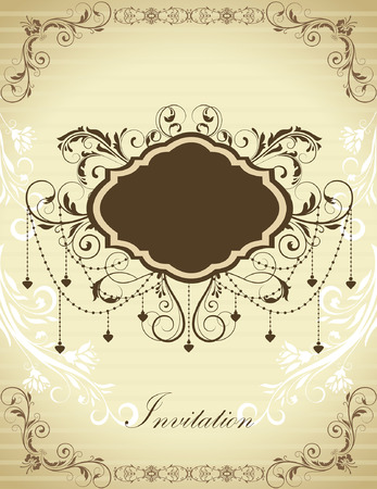 faded: Vintage invitation card with ornate elegant retro abstract floral design, chocolate brown flowers and leaves on striped faded beige background with plaque text label. Vector illustration. Illustration