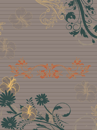 Vintage invitation card with ornate elegant retro abstract floral design, multi-colored flowers and leaves on striped gray blinds background with text label. Vector illustration. Vettoriali