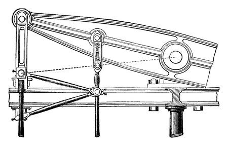 Watt's linkage, vintage engraved illustration. Industrial encyclopedia E.-O. Lami - 1875.