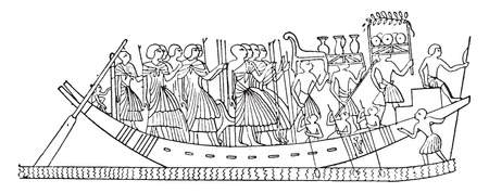 oar: The deceaseds furniture on a funeral boat, vintage engraved illustration.