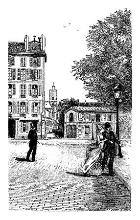 epee: Rue de lAbbe-de-Saint-Jacques Epee and upper-Pas, vintage engraved illustration. Paris - Auguste VITU – 1890. Illustration
