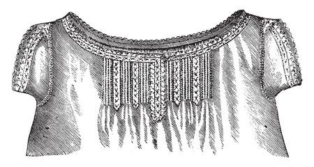 chemise: Ladys chemise, vintage engraved illustration.