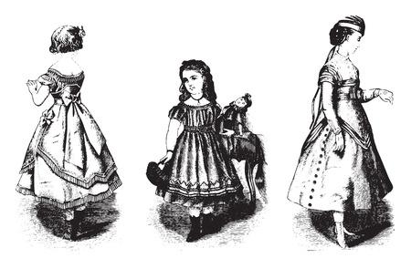 illustration: Childrens dresses, vintage engraved illustration. Illustration