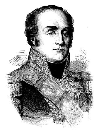 comandante: Drouet d'Erlon, vintage illustrazione inciso. Storia della Francia - 1885.