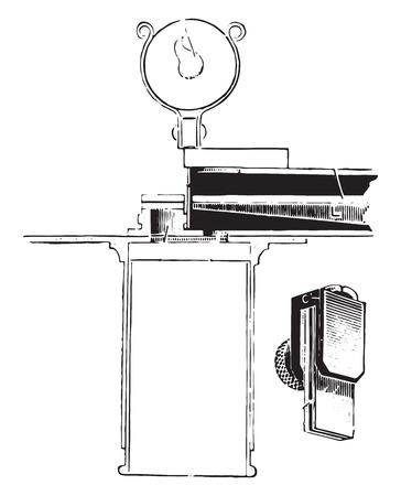 Dares hemoglobinometer, vintage engraved illustration.