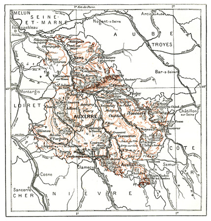 Map of Department Of Yonne, vintage engraved illustration. Dictionary of words and things - Larive and Fleury - 1895.