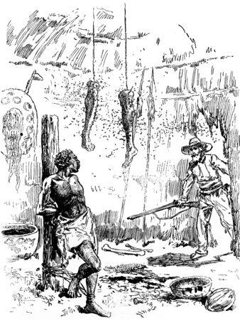 perilous: Narcissus Nicaise perilous adventures in the Congo. The negro sees it as a supernatural apparition, vintage engraved illustration. Journal des Voyage, Travel Journal, (1880-81).