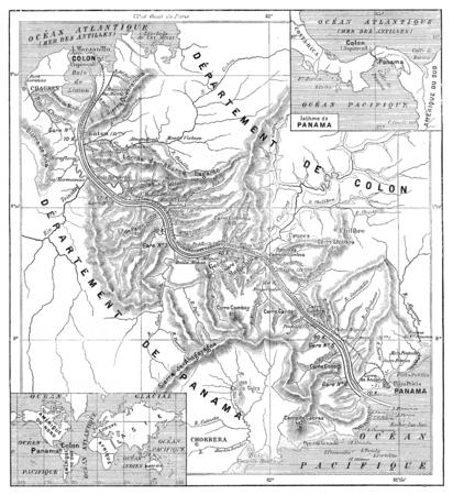 パナマ運河は、ビンテージの刻まれた図の地図。言葉・事・辞典 Larive ・ フルーリ - 1895。 写真素材