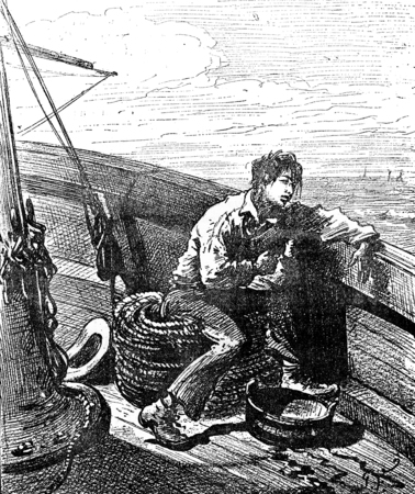 parisian: Robinsons of Guyana. The Parisian was seasick, vintage engraved illustration. Journal des Voyage, Travel Journal, (1880-81).